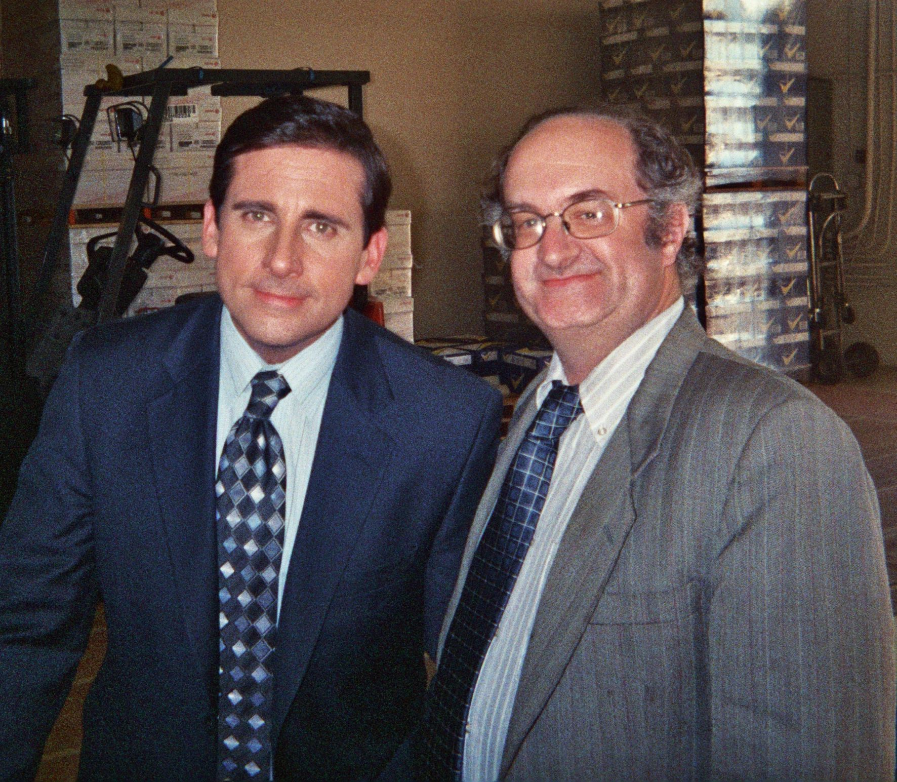 Geoffrey Gould with Steve Carell at ''The Office'' shoot