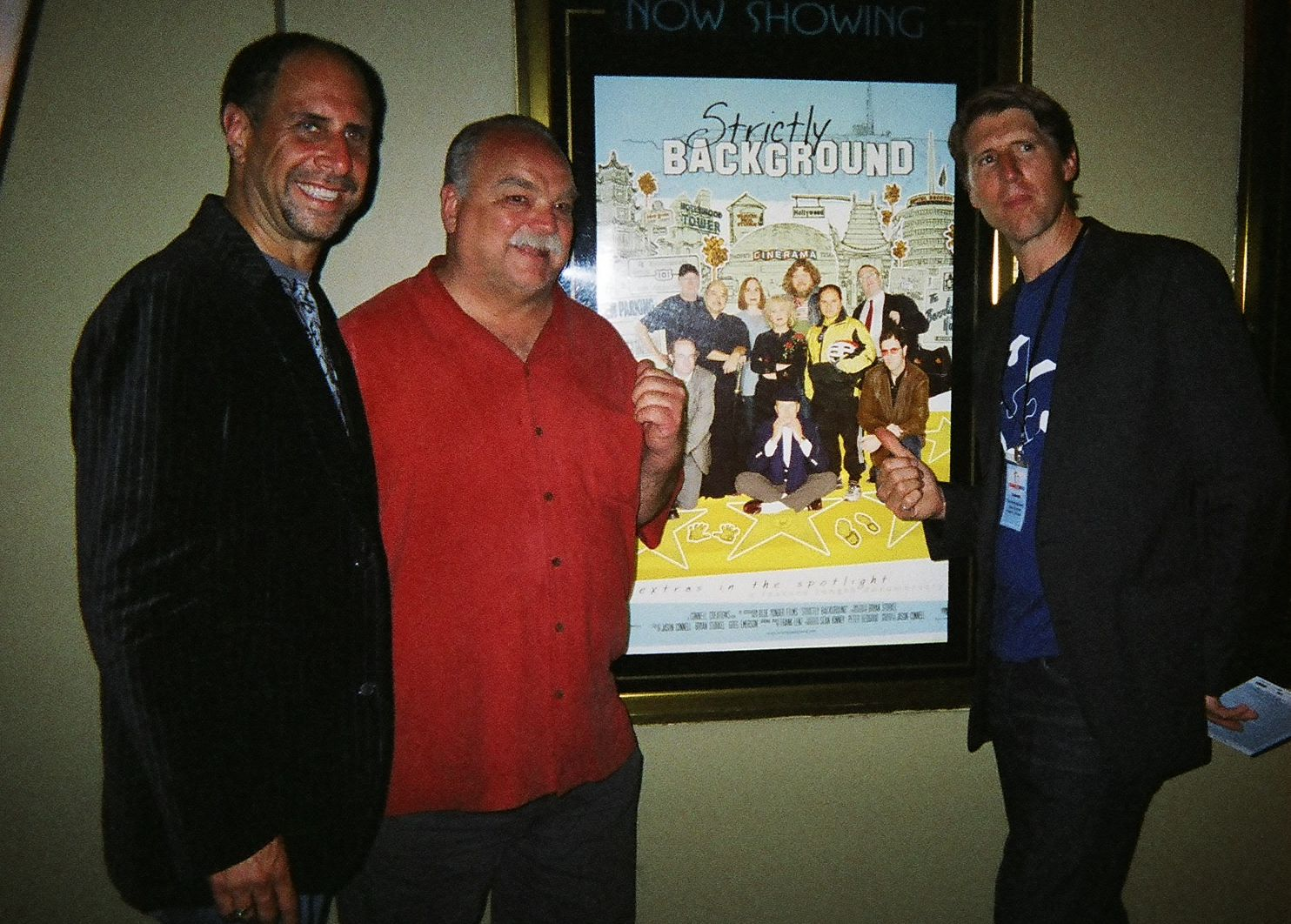 Jeff Olan, Jason Connell and Richard Riehle posing at ''Strictly Background'' poster