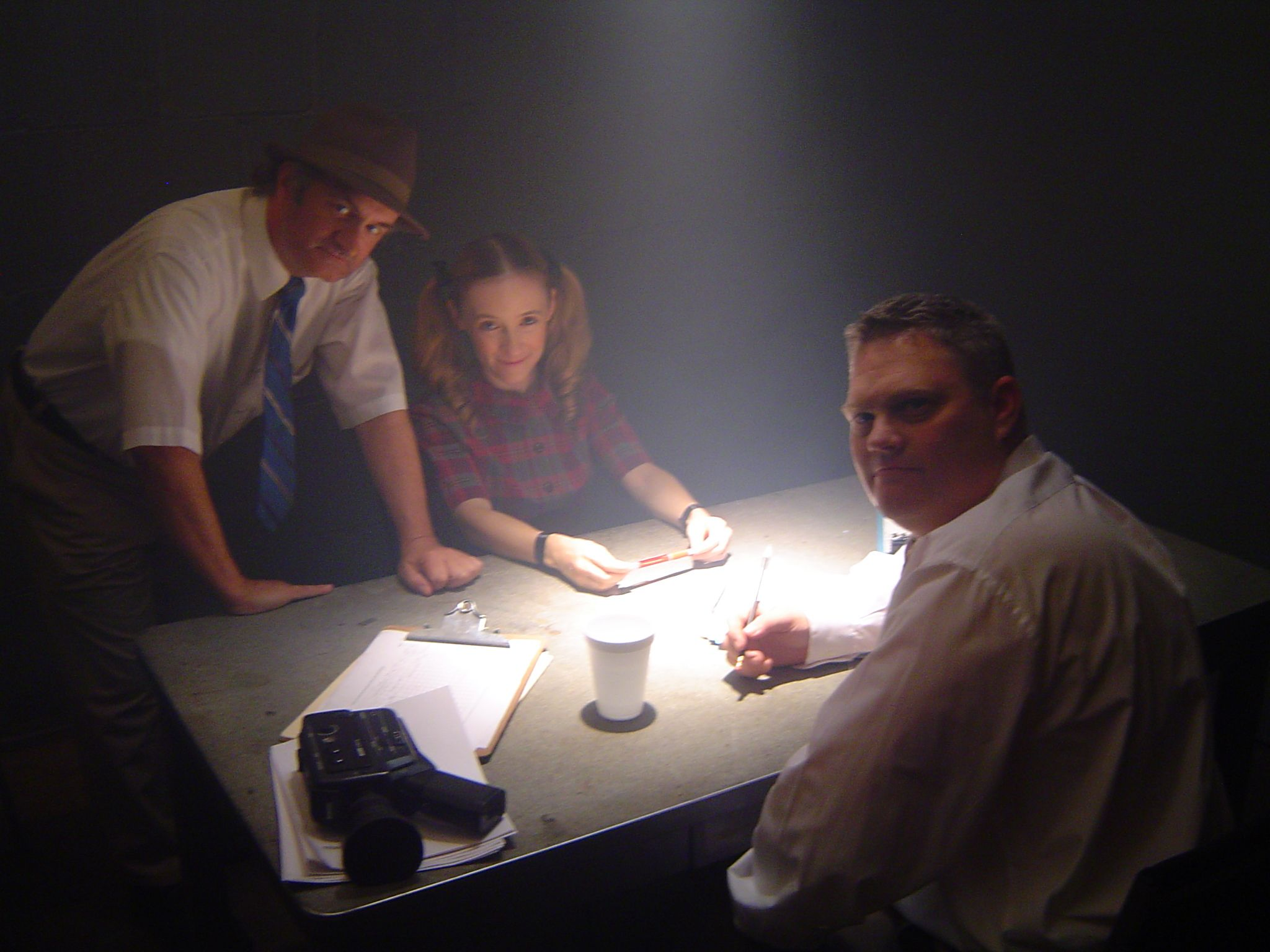 Geoffrey Gould as Detective Tripper with Jonica Patella as Abigail and Rick Timber in Motionless in White's ''Abigail'' music video.