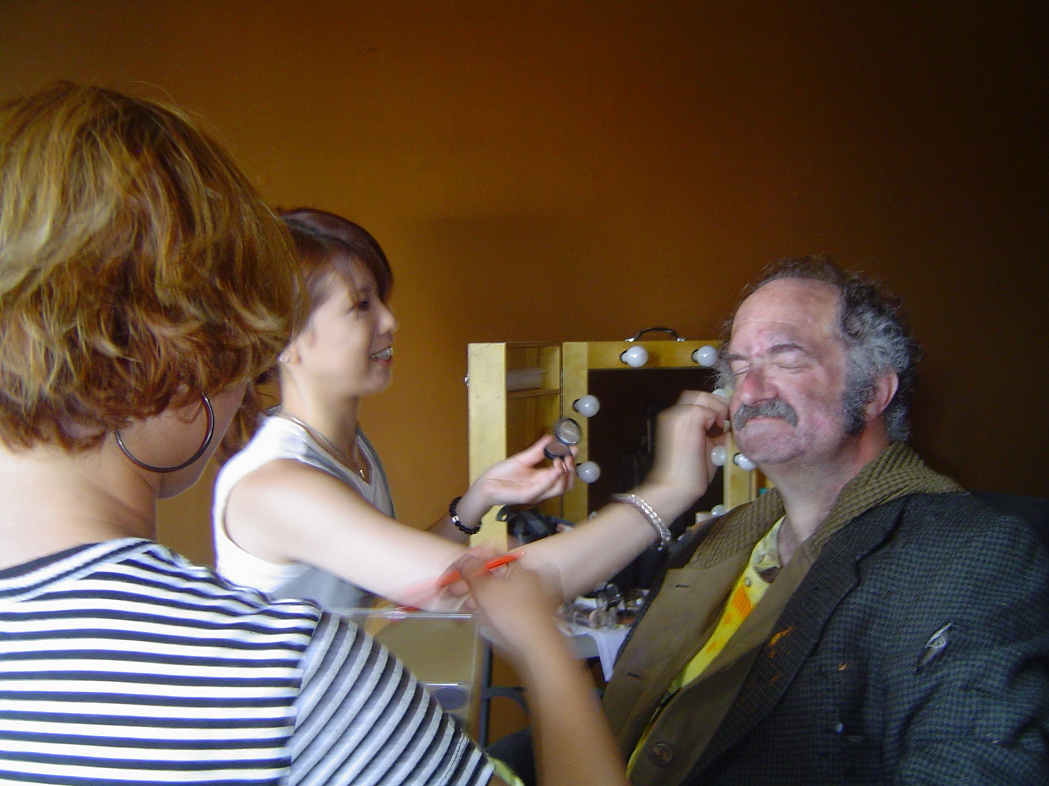 Geoffrey Gould being make-up as Homeless Man for We Are The In Crowd music video ''Rumor Mill.''