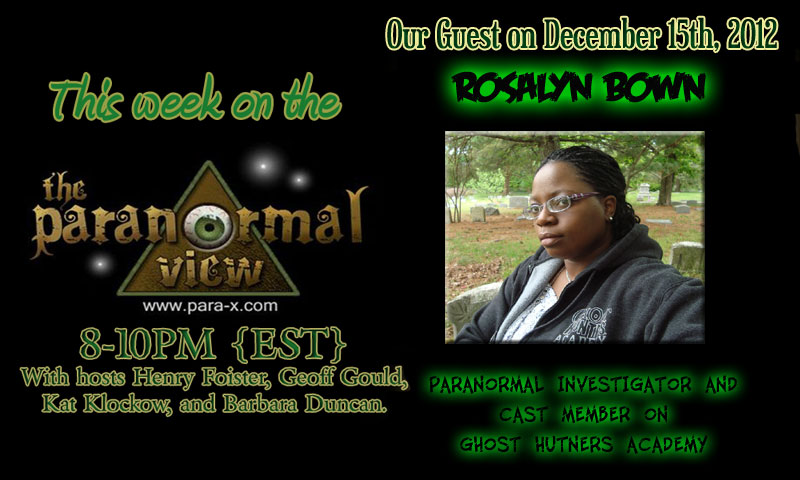 Roslyn Bown; Paranormal View 10 December 2012