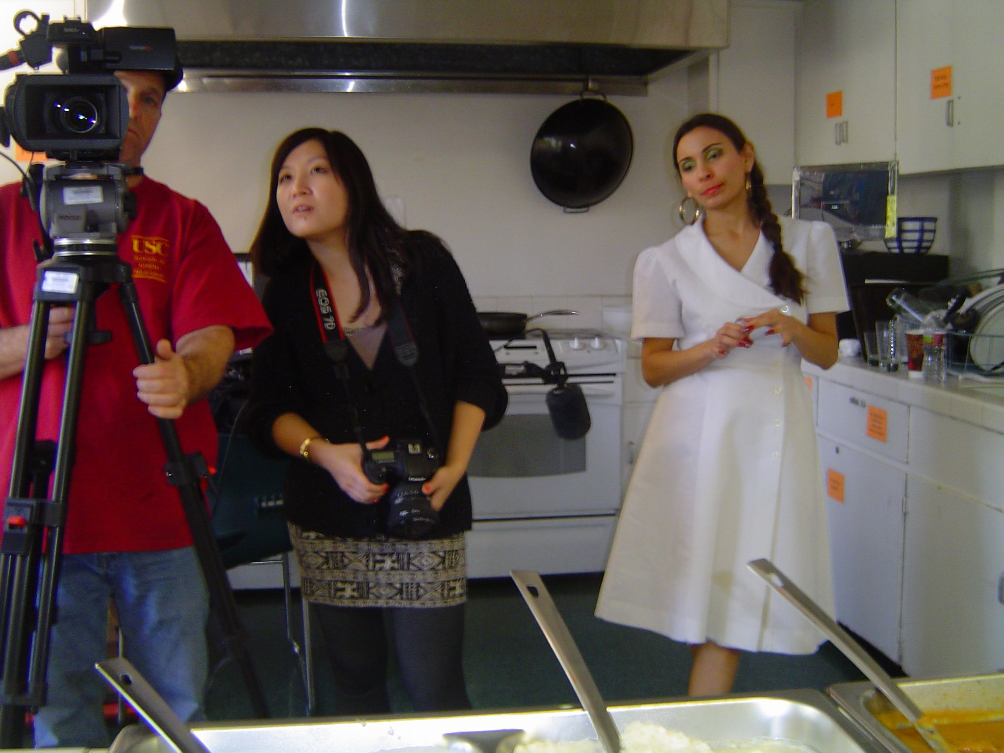 Andrew Peat, Trinity Shi and Kyla Garcia working on the USC student film ''Sweet Tooth''