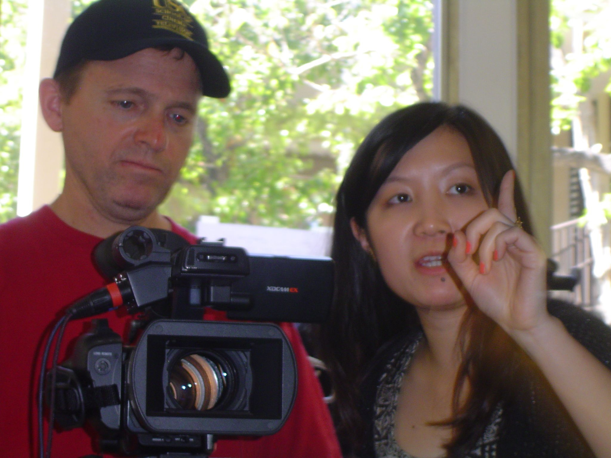 Andrew Peat and Trinity Shi working on the USC student film ''Sweet Tooth''