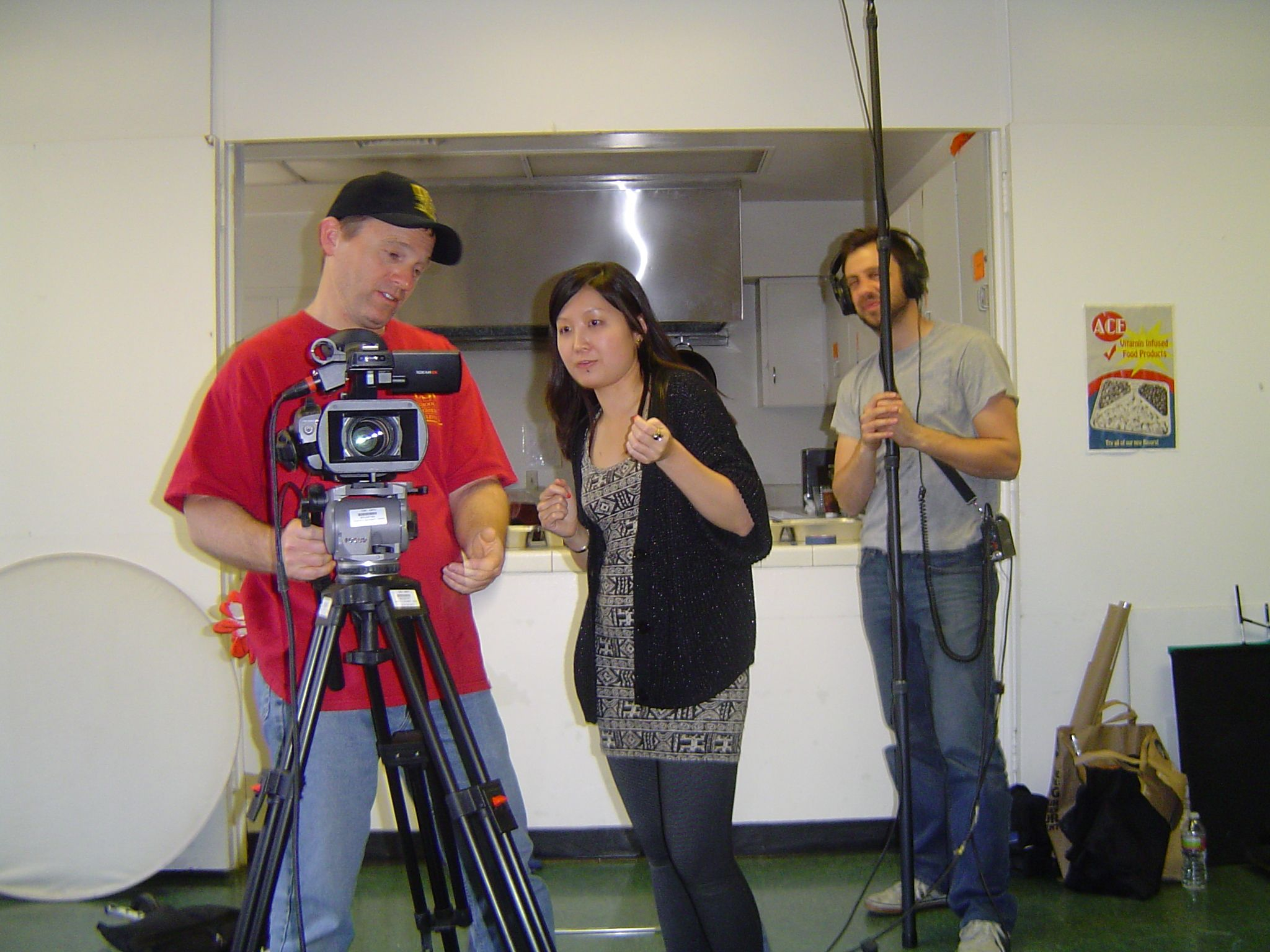 Andrew Peat, Trinity Shi and Charles Leisenring working on the USC student film ''Sweet Tooth''