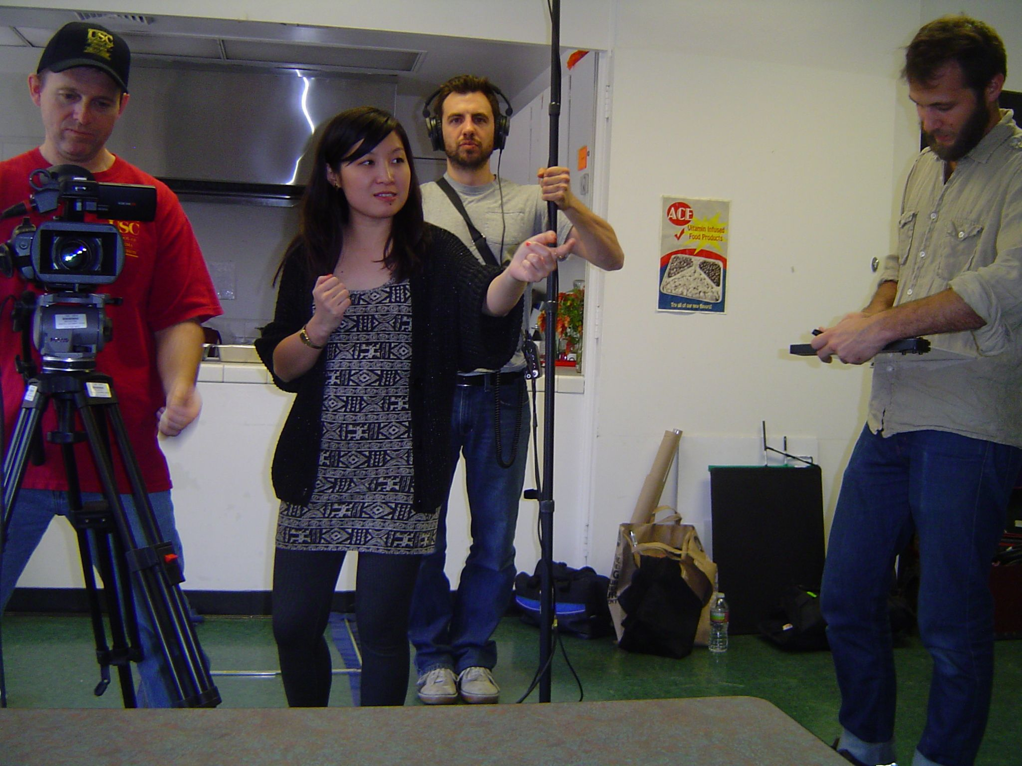 Andrew Peat, Trinity Shi, Charles Leisenring and Justin Ling working on the USC student film ''Sweet Tooth''