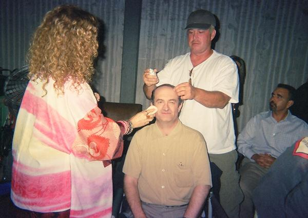 Geoffrey Gould make-up touch-up as the Comb-Over Juror on ''The Practice''