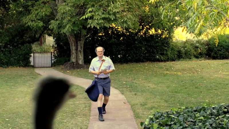 Geoffrey Gould arriving at the Lawrence household in the Super Bowl 2009 commercial